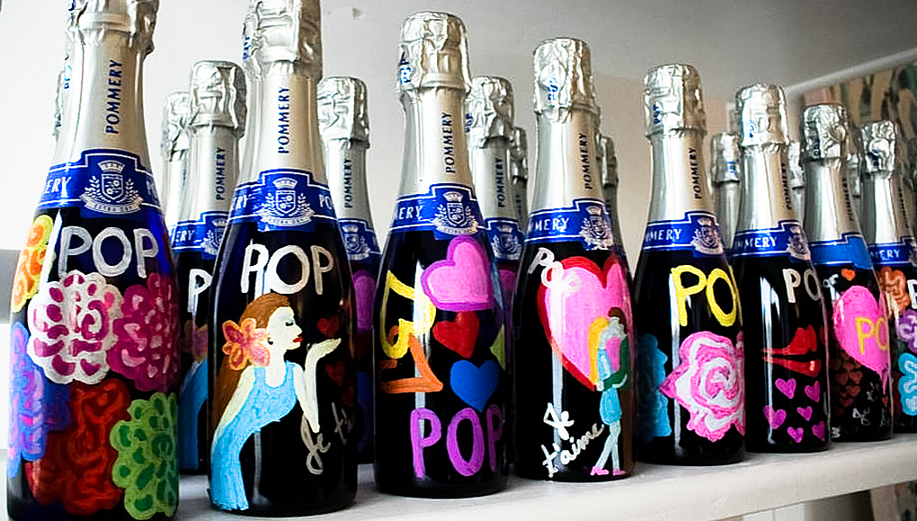 Handpainted Pommery Champagne